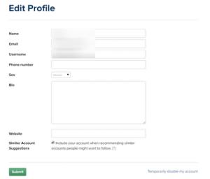 Edit Profile Sample