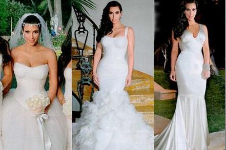 4 Diffrent Dressing Of Kim Kardashian Durring Weeding